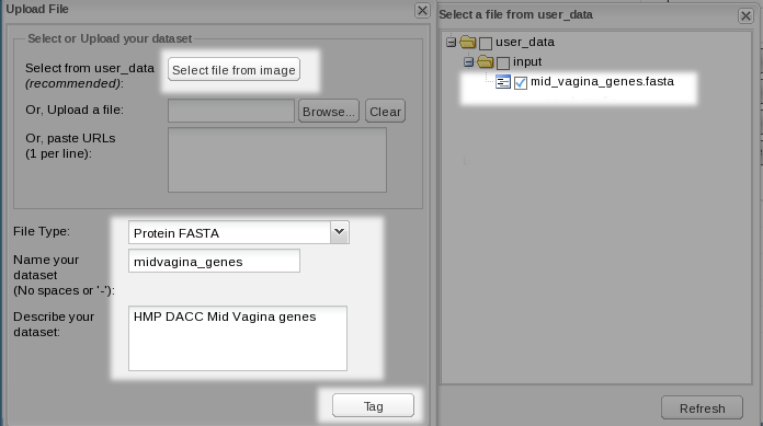Figure 6. Adding a FASTA dataset