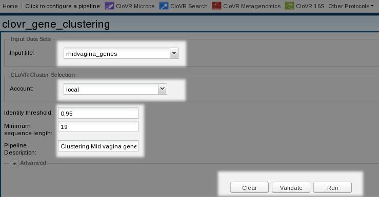 Figure 9. Configuring a Gene Clustering pipeline