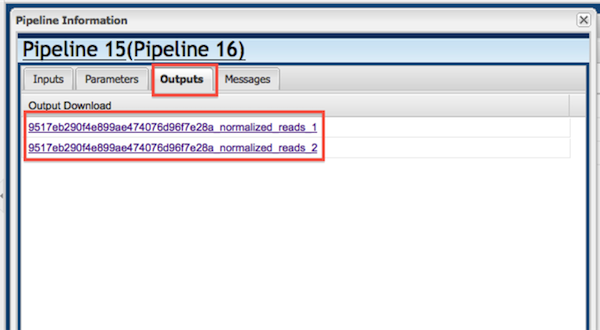 Figure 9. Download Diginorm pipeline output