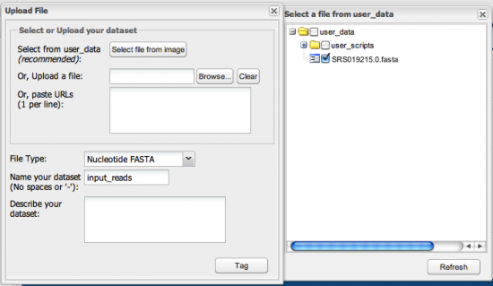 Figure 6. Setting up input dataset